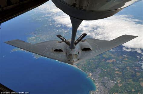 stunning photo of b2 spirit stealth bomber being