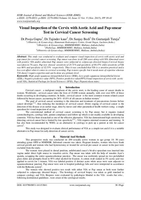 Visual Inspection Of The Cervix With Acetic Acid And Pap Smear Test I Normal Pap Smear Letter Template