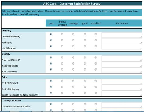 Survey Template Excel customer satisfaction survey template excel