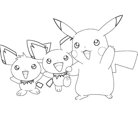 free coloring pages of pichu pikachu i raichu