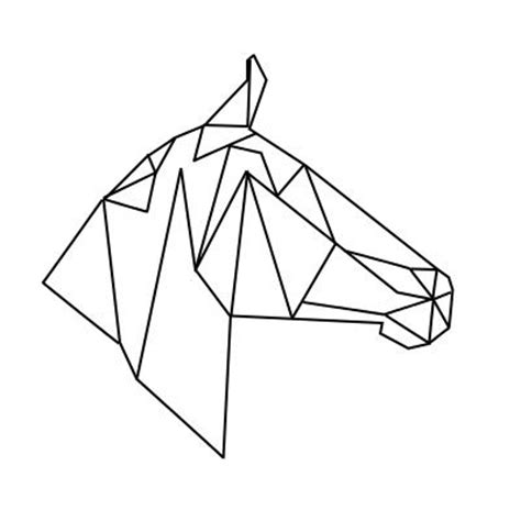 Drawing Origami - geometric geometrique cheval tete mon logo