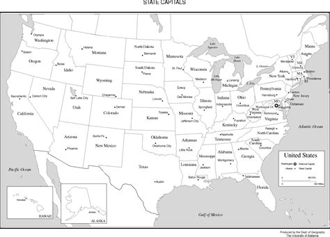 united states map and capitals united states labeled map