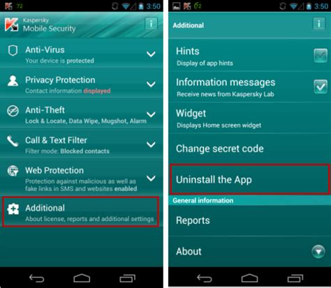 kaspersky mobile security how to uninstall kaspersky mobile security android