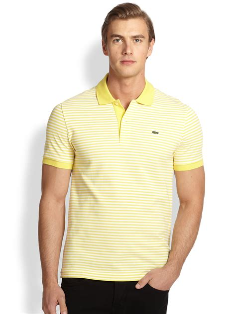 Polo Yellow Stripe Blue lacoste heritage fin stripe polo shirt in yellow for lyst