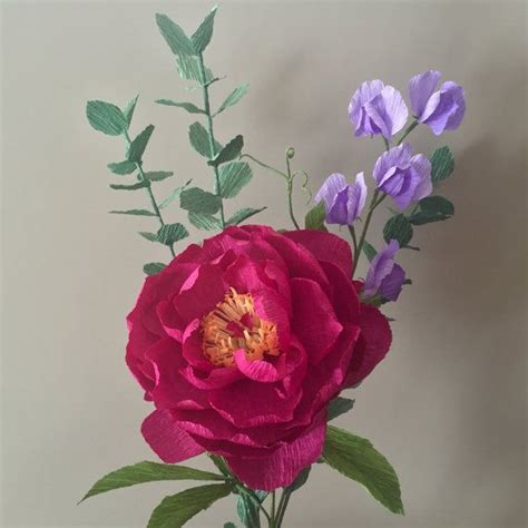 crepe paper bouquet peony sweet pea and by nectarhollow on