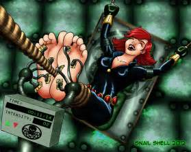 Black widow foot tickled
