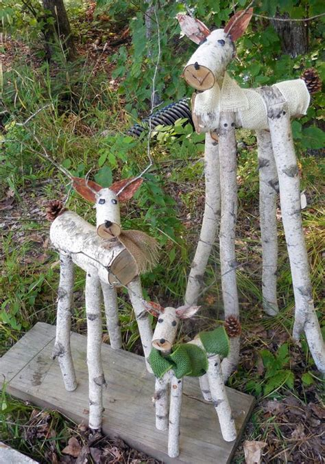 reindeer birch log deer garden holiday decor gardens
