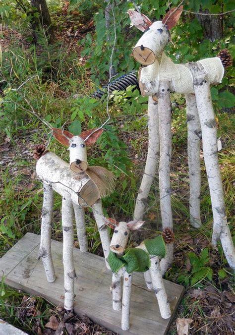 reindeer birch log deer garden holiday decor gardens