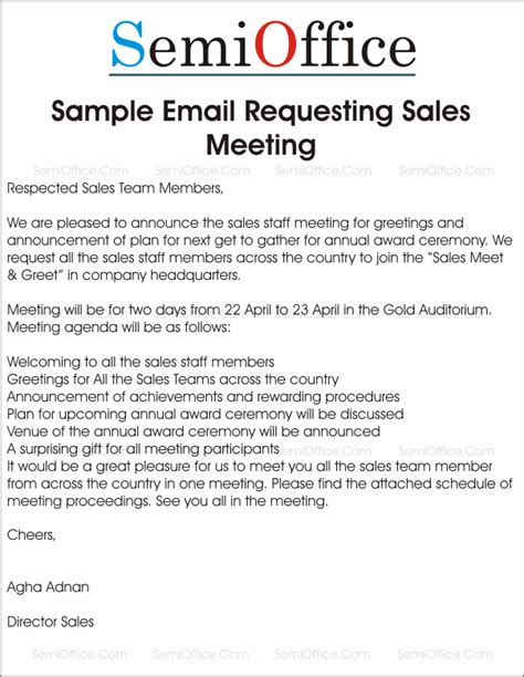 Sle Invitation For Emergency Meeting Sle Letter Requesting Sales Meeting And Greetings