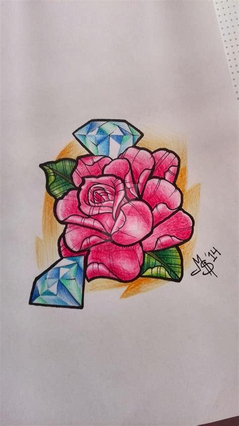 tattoo diamond and rose rose diamonds tattoo flash by soederberg on deviantart