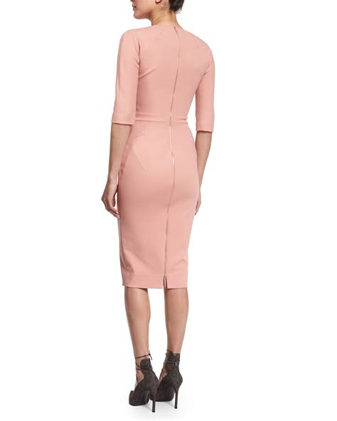 V Neck Sleeve Sheath Dress lyst beckham 3 4 sleeve v neck sheath dress in pink