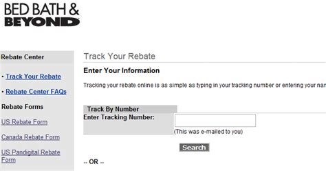 bed bath and beyond rebate www bedbathrebates com track your rebate online