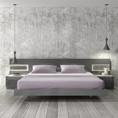 2469 79 Braga Platform Bed Grey Lacquer Beds 9 Bed For