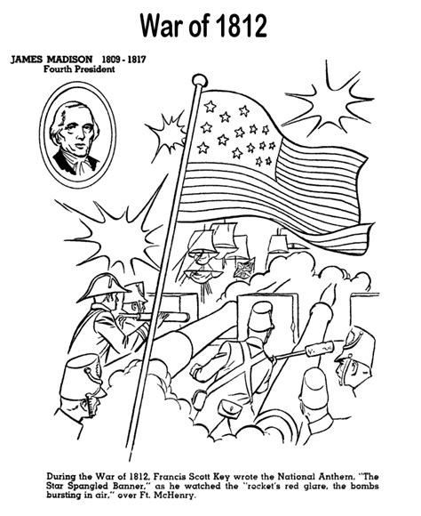 War Of 1812 Coloring Pages usa printables the war of 1812 us history coloring pages