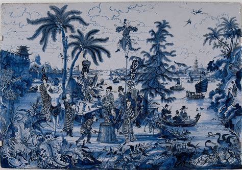 chinoiserie wallpaper uk blue file delftware plaque with chinoiserie 17th c bk 1971
