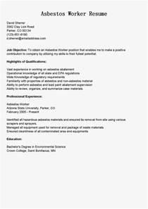 resume samples asbestos worker resume