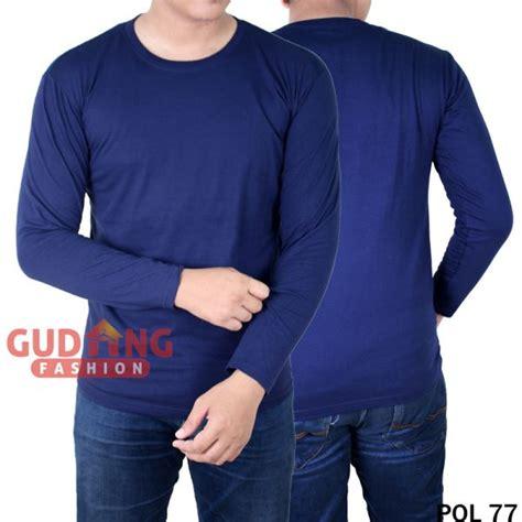 Pls 174 Kaos Polo Polos Lengan Panjang Lacost Pe Hitam Kerah Merah t shirt pria lengan panjang cotton combed biru dongker pol 77 gudang fashion