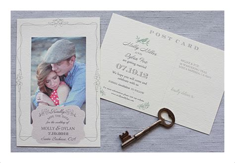 beautiful ideas save the date postcard template vintage