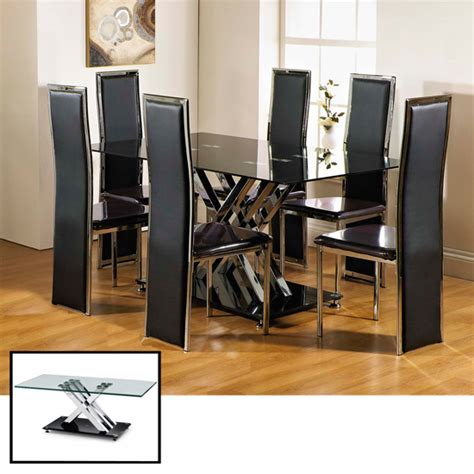 clearance excelsior rectangle glass dining table and 6