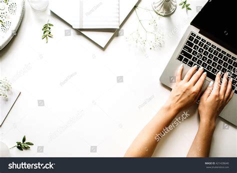 sketchbook for laptop workspace laptop notebook sketchbook stock