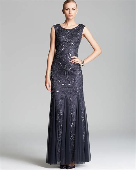 cap sleeve bead dress lyst papell cap sleeve beaded gown in gray