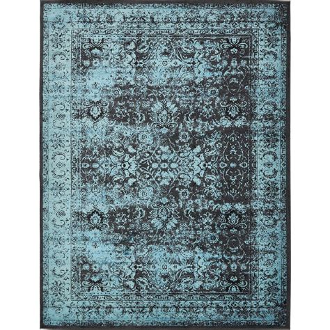 Blue And Black Area Rugs Unique Loom Istanbul Blue 13 Ft X 19 Ft 8 In Area Rug 3134959 The Home Depot