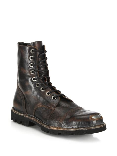 diesel boot diesel hardkor steel toe leather boots in black for lyst