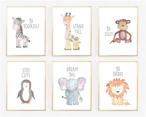 Printable Animal Pictures For Nursery | watercolor baby animal nursery prints jane