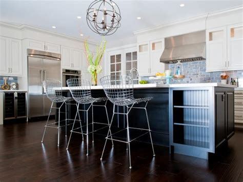 modern kitchen with red bar stools hgtv contemporary white and brown kitchen andrea bazilus hgtv