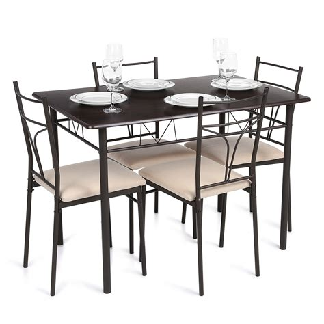 metal dining table and chairs brown ikayaa modern 5pcs metal frame padded dining table