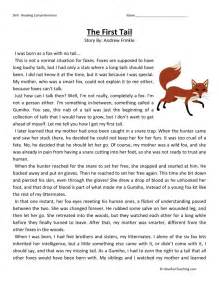 reading comprehension worksheet the first tail