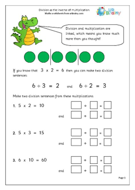 division as the inverse of multiplication division maths