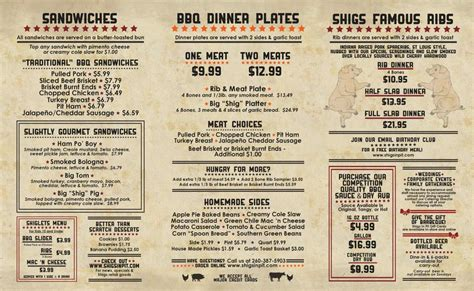restaurant menu home shigs in pit bbq fort wayne restaurant catering