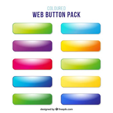 html button color colors web buttons without text vector free