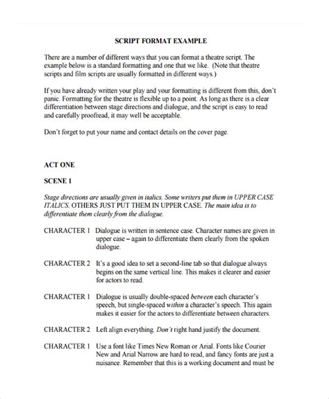 stage play script format template 6 script writing exles sles