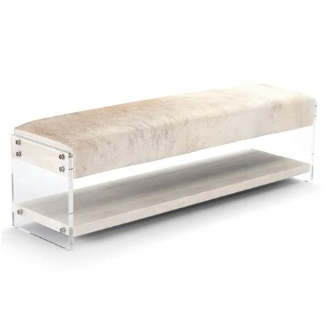 hide bench winona hollywood regency modern deco acrylic hide bench with shelf kathy kuo home