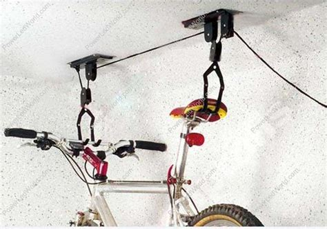 Hanging Bike Racks For Garage by Garage Overhead Storage Pulley Rack 2 Sets Of Ceiling
