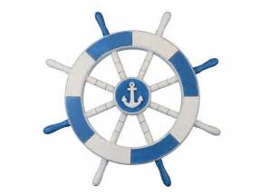 buy light blue and white decorative ship wheel with anchor