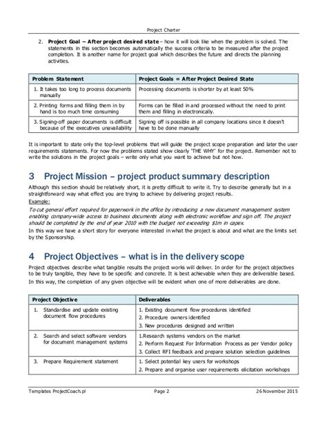 project charter sections erp sap project charter