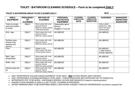 bathroom cleaning schedule template bathroom cleaning checklist template