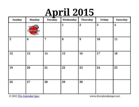 April Calendar Blank April 2015 Calendar Printable