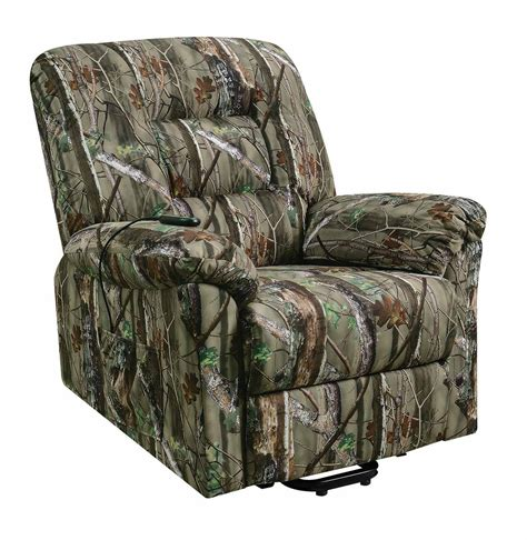 camouflage recliner chair coaster 601027 power lift recliner camouflage print
