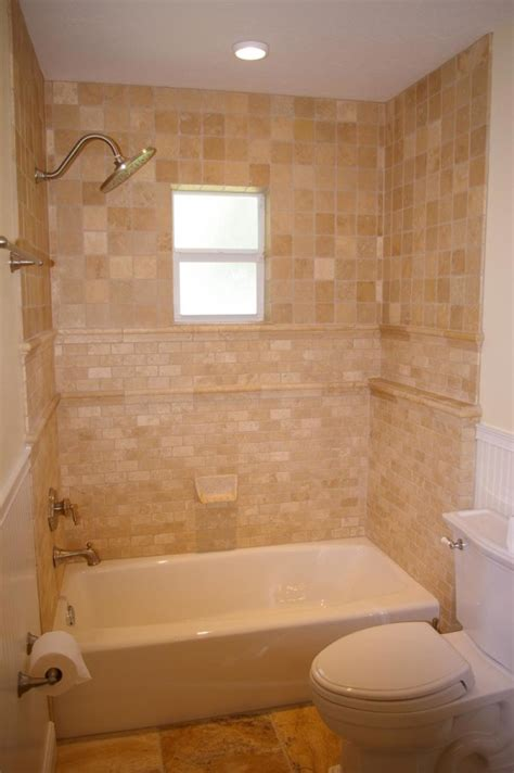 Small Bathroom Shower Tile Ideas Wondrous Small Bathroom Ideas Tile Using Tumbled Travertine With Ceramic Soap Dish And