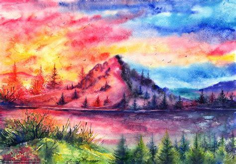 imagenes de paisajes en acuarela descargar gratis p 225 jaros paisaje pintado puesta del sol