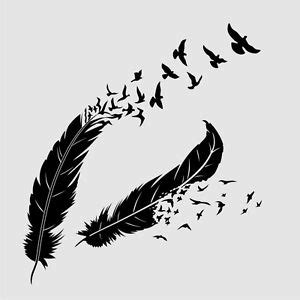 feathers birds reusable stencil a3 a4 a5 romantic shabby