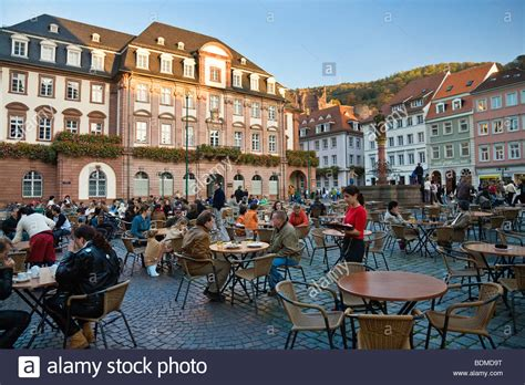heidelberg city centre cafe on the marketplace with town historic centre of