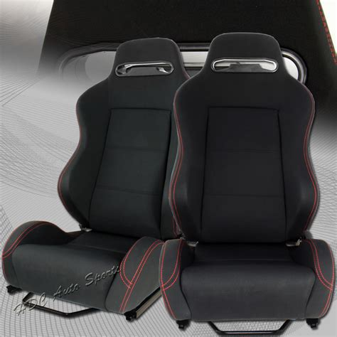 Racing Seat Upholstery by Type 2 Universal Jdm Reclinable Black Cloth Stitching