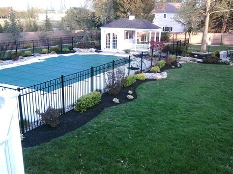 backyard pool fence ideas landscape around pool bullyfreeworld com