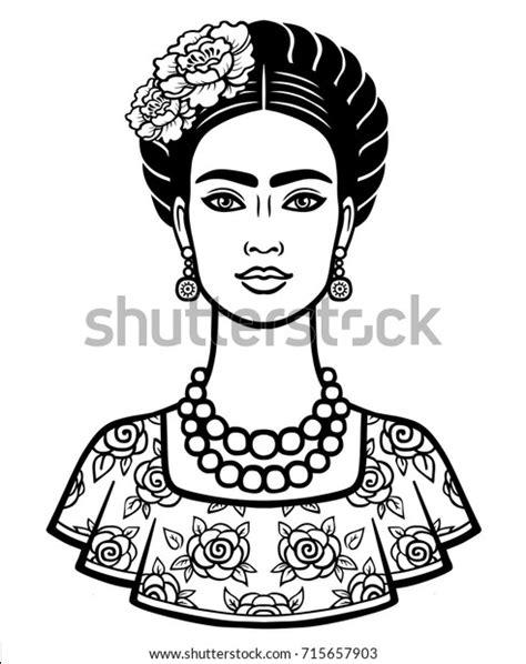 Vetor stock de Animation Portrait Young Beautiful Mexican