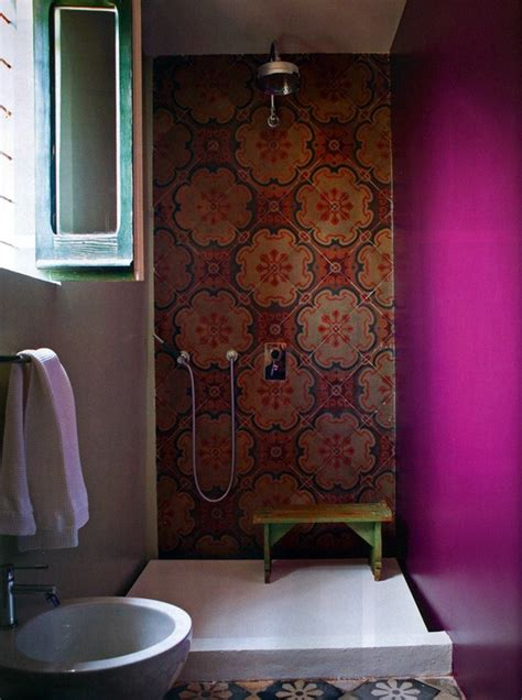 bohemian style bathroom bathroom design wall colors tile shower pink wall tile